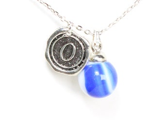 CHOOSE YOUR INITIAL A-Z charm vintage 40s - 60s blue white glass marble layering necklace