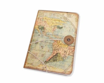 Little Travel Journal, Pocket Map Journal, World Travel Jotter, Twist Tie Travel Journal, Grab Bag, Stocking Stuffer for Him