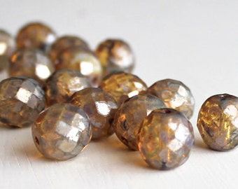 15 Champagne Picasso 12mm Faceted Rounds Czech Glass Beads
