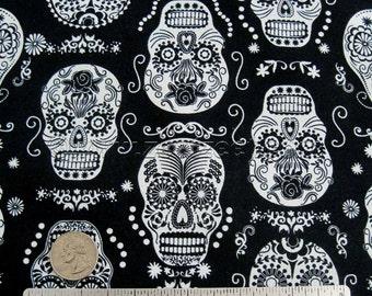 "Folklore SUGAR SKULLS Black ""Glow in the Dark"" Cotton Quilt Fabric Yard - Day of the Dead Skull Mexican Folk Art Mexico Rockabilly Timeless"