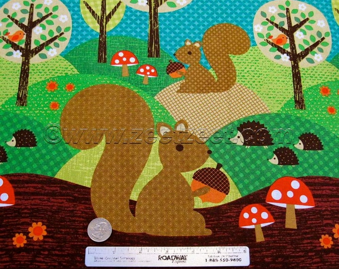 """NUTS for Dinner Michael Miller """"NORWEGIAN WOODS Too"""" Multi Cotton Quilt Fabric by the 35"""" x 45"""" Yard"""