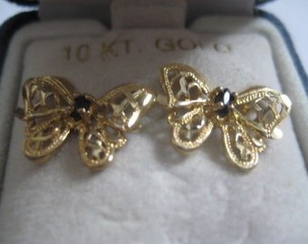 Vintage 10Kt Filigree Butterfly Pierced Post Earrings with Sapphire in Original Box