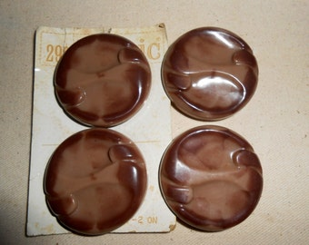 Vintage Le Chic Buttons, Vintage Brown Buttons,  Sewing Buttons