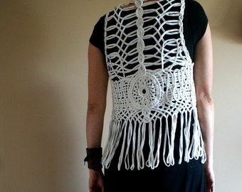 Unique White Lattice Woven Festival Vest