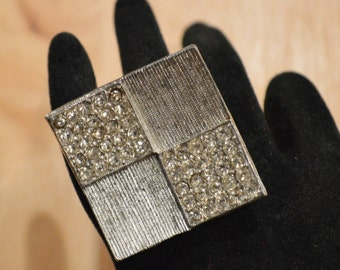 ON-SALE! Upcycled 1960s Mod Rhinestone Squares Sterling Silver Ring