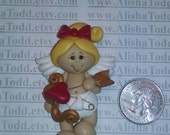 Valentines CUPID Girl polymer clay pendant! Ready to Ship!