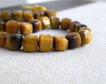 Tiger Eye Gemstone Cube Faceted Drilled Beads 7mm 13 beads 1/2 strand