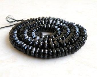 Black Spinel Gemstone Faceted Rondelle German Cut 6.5mm 42 beads Wholesale