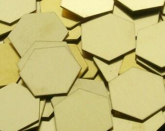 Brass Hexagons - 18 ga, stamping blanks, Bopper, metal stamping blanks, stamping supplies, etching blanks, embossing blanks, hexagon blanks