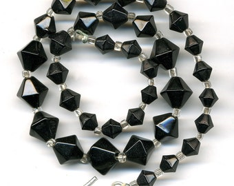 "Vintage Black Bead Necklace Six Sided Graduated Bicone Shape 14.25"" Long"