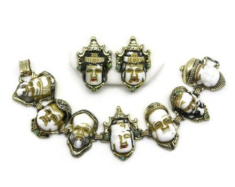 Selro Bracelet and Earring Set Asian Demi Parure - Selro Selini Vintage Seven Immortals Jewelry