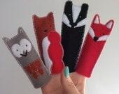 set of woodland creature felt finger puppets