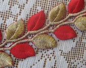 1 Yard Extra Fancy 1 1/2 Inch Embroidered Cutwork Trim Red With Gold Metallic Leaves  #1017