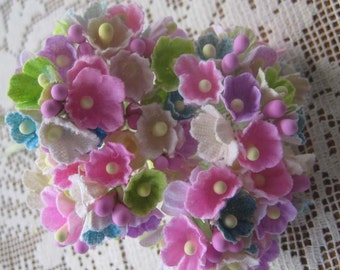 Forget Me Nots Flowers in Bright Mix 2 Bouquets Millinery Paper Flowers