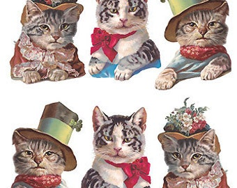 Self Adhesive Cats Kittens In Hats Stickers 1 Sheet Colorful Scrapbooking Stickers  Number 102