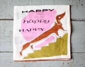 vintage. WELCHER dachshund. doggie. dog. hankie. handkerchief. linen. fabric. modern. mod. pink and green. Happy Birthday