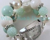 Winter Fresh.. Super Chunky Mint and Cream Interchangeable Beaded Watch Band, Bling