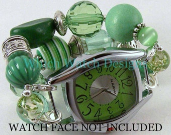 St. Pattys.. Chunky Green Interchangeable Beaded Watch Band, St. Patrick's Day, Acrylic, Silver Plated