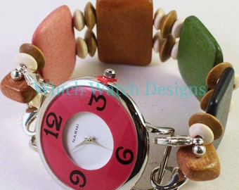 Wood You.. Fun Colorful Flat Wood Slats Interchangeable Beaded Watch Band, Pink, Blue, Green, Tan