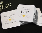 Save The Date For A Romantic Love Birds Wedding (in Oriole Yellow, Sepia and Ivory) Set of 50 - The Heath Collection