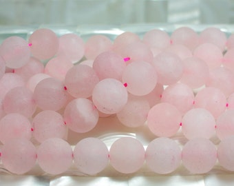 12mm Matte Rose Quartz Gemstone Jewelry Jewellery Beads Smooth Round Smooth Pink Strand Craft Bead Jewelery Supplies