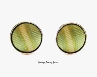 Fabric Covered Cuff Links, Silver / Green Cufflinks