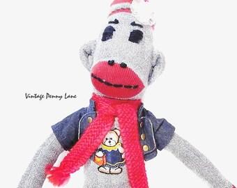 Handmade Sock Monkey Toy Doll, Cute Stuffed Animal
