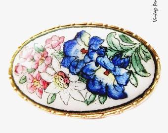 Vintage Enamel Brooch, Flower / Floral Pin