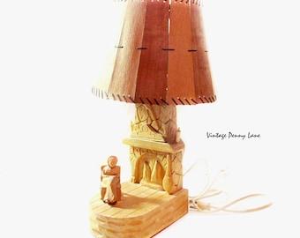 Vintage Tramp Art Electric Wooden Lamp / Carving, Quebec Folk Art