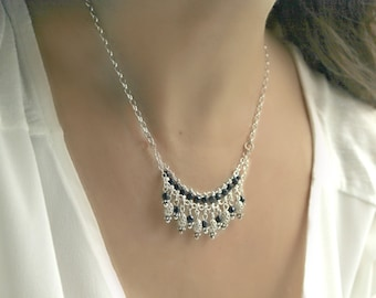 Black Spinel Oriental Necklace Tribal Feminen Bohemian Jewelry Sterling Silver Layered Layering