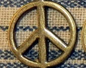 6 Small Antiqued Brass Bronze Peace Sign Connectors Charms Symbols Groovy Hippie