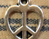 5 Small Antiqued Silver Peace Sign Heart Charms Symbols Groovy Hippie