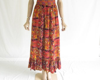 Vintage 60s Psychedelic Boho Maxi Skirt.