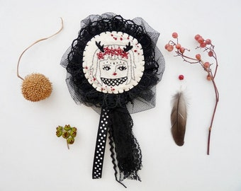 SALE - Forest Girl Embroidered Brooch Black Lace Dark Mori