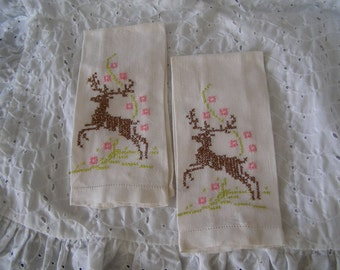 Pair of Vintage Embroidered Deer Guest Towels