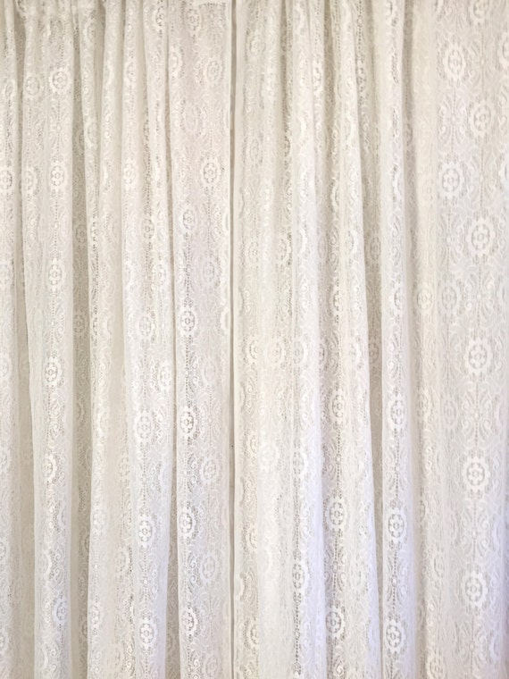 vintage white lace floor length curtains two panels by