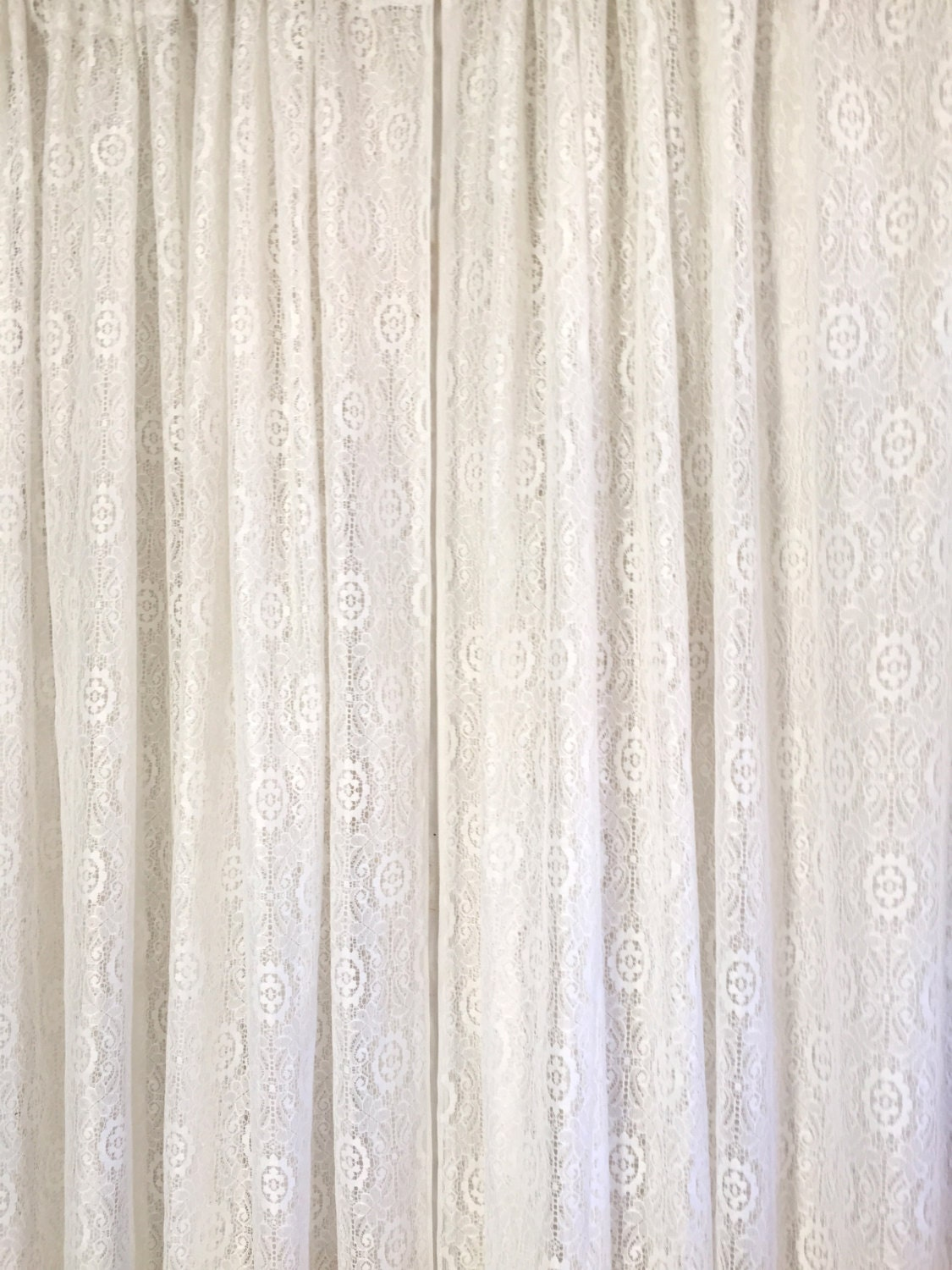 vintage white lace floor length curtains two panels by silosprings