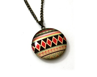 Geometric Locket Necklace, Triangles Necklace, Tribal Locket Necklace