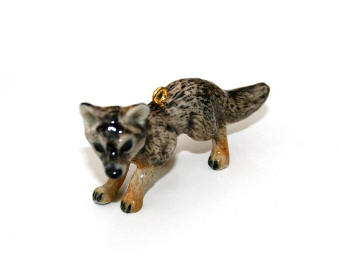 Porcelain Fox Necklace, Grey Fox Necklace, Woodland Jewelry,