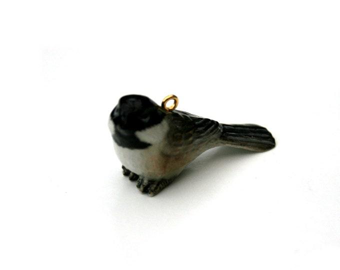 Porcelain Bird Necklace, Chickadee Necklace, Animal Necklace