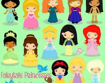 Fairy Tale Princess Series 2, Princesses  Digital Clipart, clip art collection