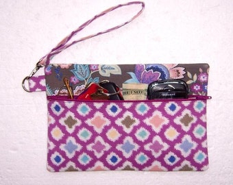 Magenta Wristlet, Floral Clutch, Taupe Blue Turquoise Wallet, Small Purse, Zippered Makeup Case, Floral Phone Holder