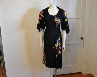 1940s dress / Vintage 40's Crepe Dress Floral Novelty Print Embellishments