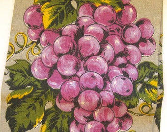Pure Linen Tea Towel - Purple Wine Grapes - Purple, Gold and Green on Tan, With Foil Tag