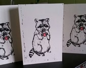 Letterpress Printed 'Raccoon with Heart' Notecard
