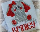 Cute Elephant Heart Cheeks Embroidery Applique Design