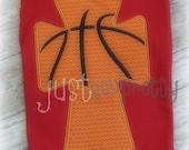 Basketball Cross Embroidery Applique Design