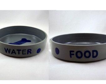 Handmade Stoneware Dog Bowls Gray and Blue