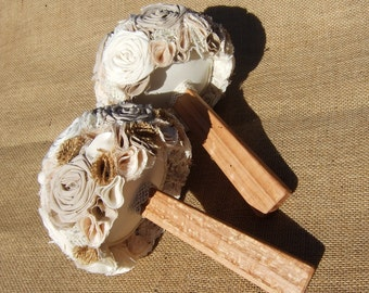 Cotton Cream and Brown Wedding 3 Bridesmaid Bouquets with Burlap and 1 large bridal Bouquet