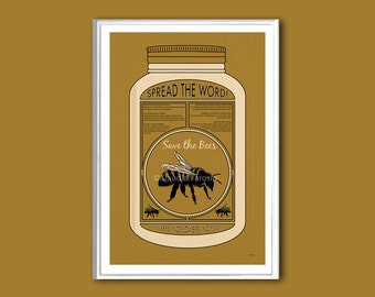 Save the Bees poster various sizes retro print